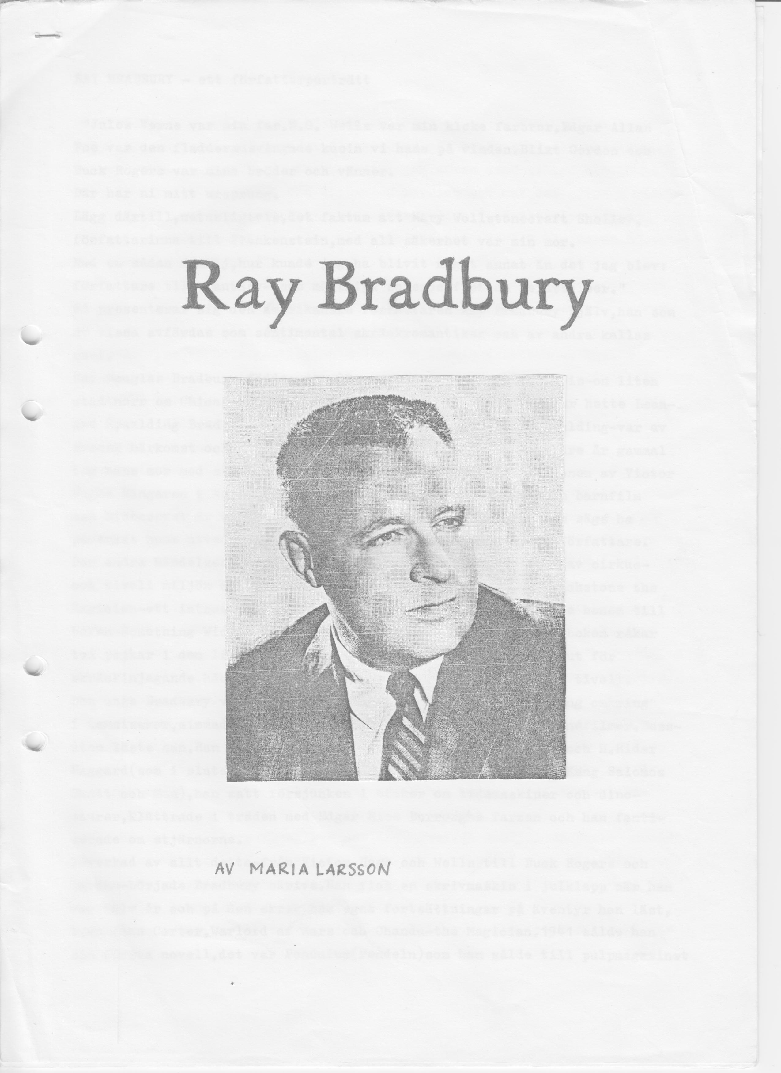 ray bradbury essays A note about the author ray bradbury has published some twenty-seven books—novels, stories, plays, essays, and poems—since his first story appeared.