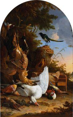 Magpie_Melchior_d'Hondecoeter_-_Jachtbuit_bij_een_ekster_op_een_boomstronk_1660_-_1695